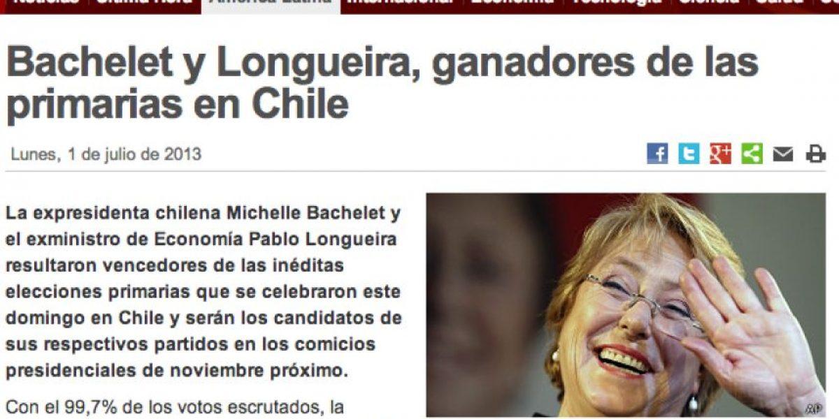 Primarias 2013: Así informaron los medios extranjeros los triunfos de Bachelet y Longueira