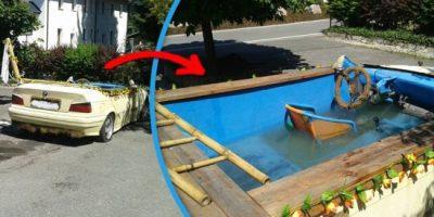 Hombre convierte su BMW en piscina y se va de fiesta