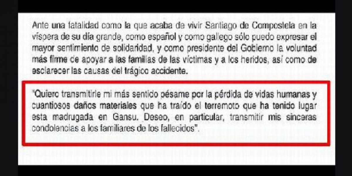 Detectan error en el pésame de Mariano Rajoy a las víctimas del accidente