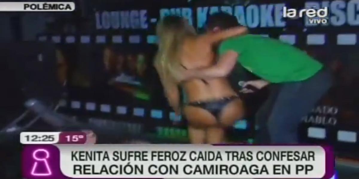 Video: Kenita sufre fea caída en discotheque de La Calera