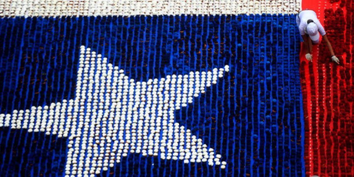 FOTOS: Una dulce bandera chilena se exhibe en Valparaíso