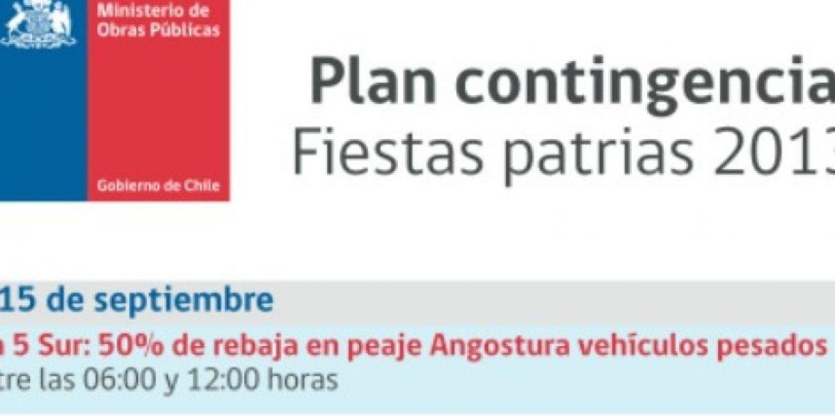 Así es el plan de contingencia vial que aplicará el MOP estas Fiestas Patrias
