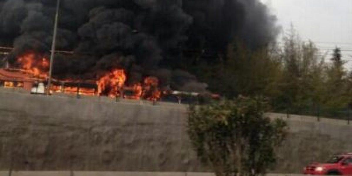Fotos: Captan bus del Trasantiago en llamas en Vespucio Norte