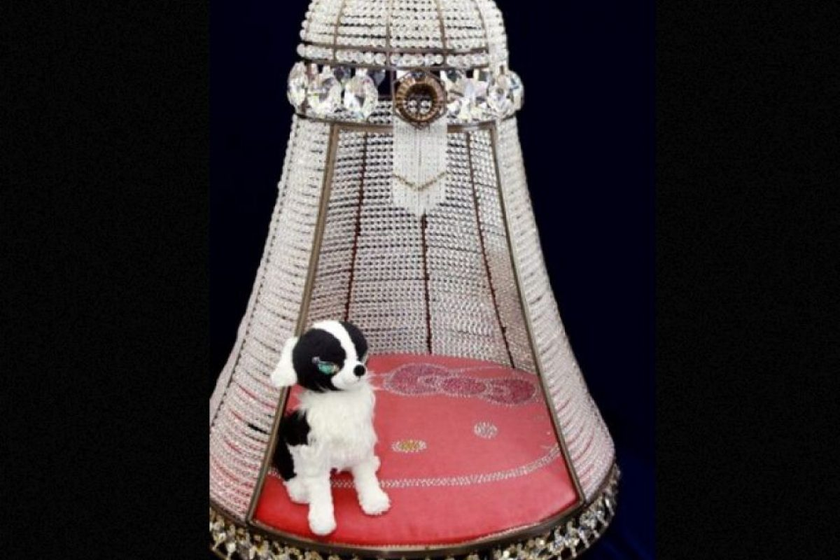 Esta costosa cama para su perro o gato de Hello Kity cuesta 31.660 dólares y está decorado con 75.000 cristales. Foto: AllDogsNews. Imagen Por:
