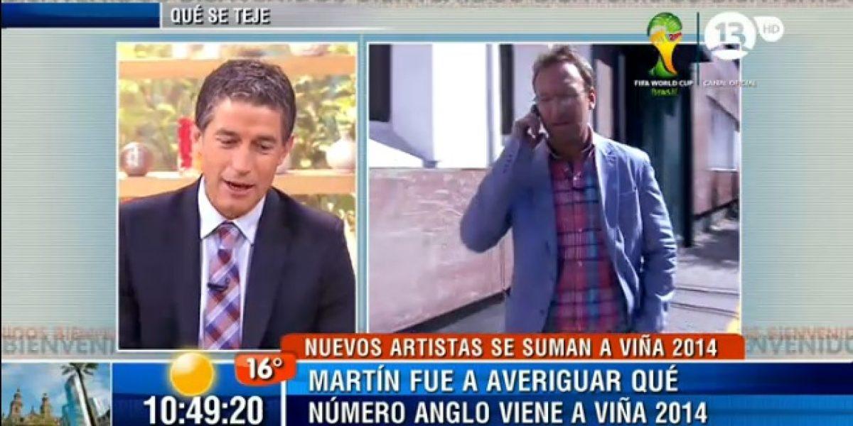 Martín Cárcamo se las da de notero y va a Chilevisión a reportear
