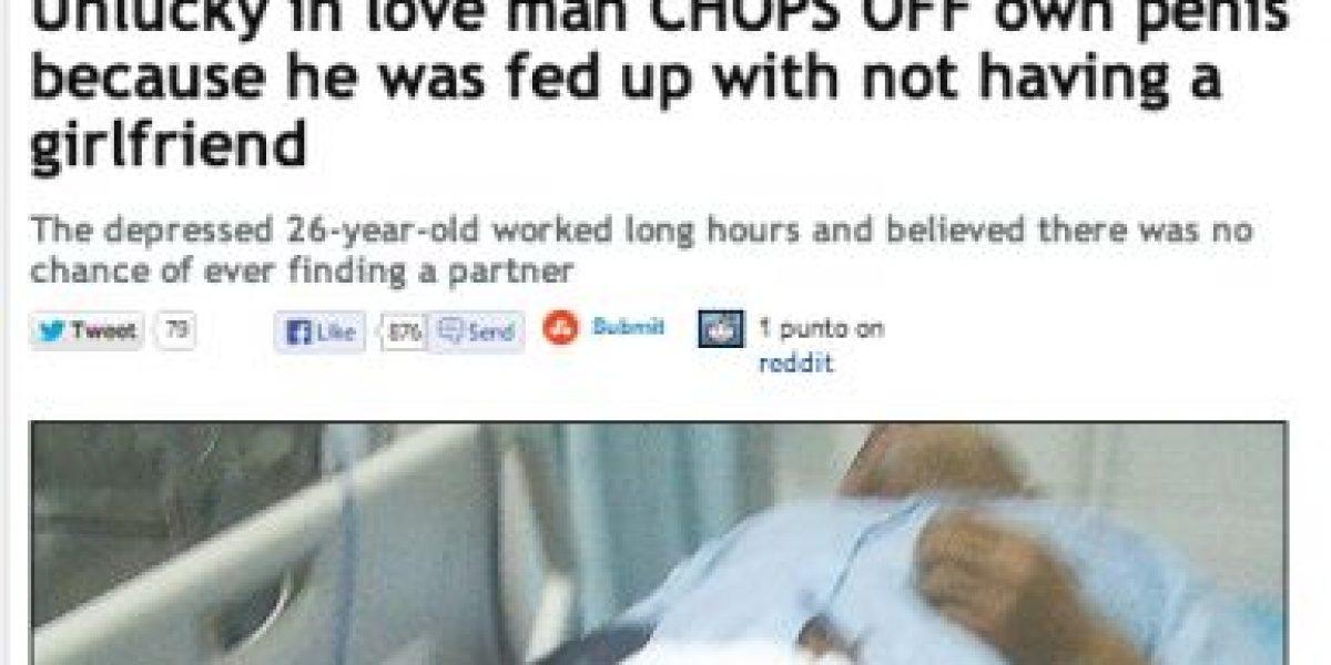 Por tener mala suerte en el amor: Hombre se realiza extraña mutilación