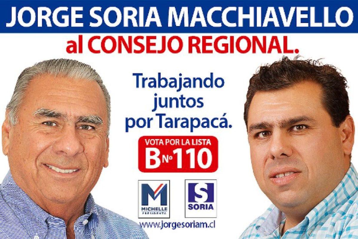 Jorge Soria Macchiavello: Hijo del alcalde de Iquique del mismo nombre. Fue diputado entre 1994 y 2002. Siempre al alero de su padre, esta vez se presenta al Core por Fuerza País, el nuevo rótulo sobre el cual el caudillo de la zona ha agrupado sus fuerzas.. Imagen Por: