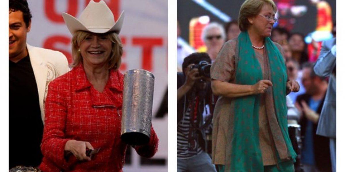 Matthei y Bachelet cerraron sus campañas bailando