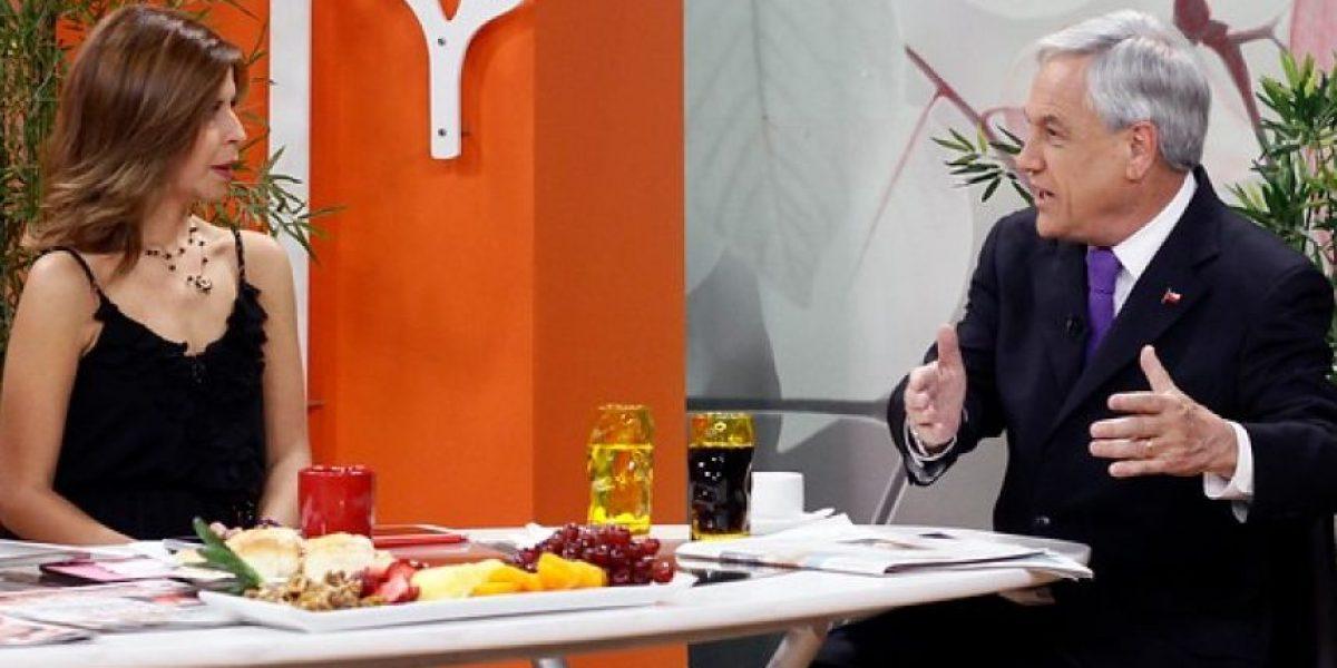 Piñera visita matinal de CHV y admite ventaja de Bachelet sobre Matthei