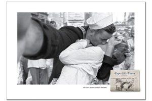 El famoso beso captado por un fotógrafo en Times Square, Nueva York. Imagen Por: