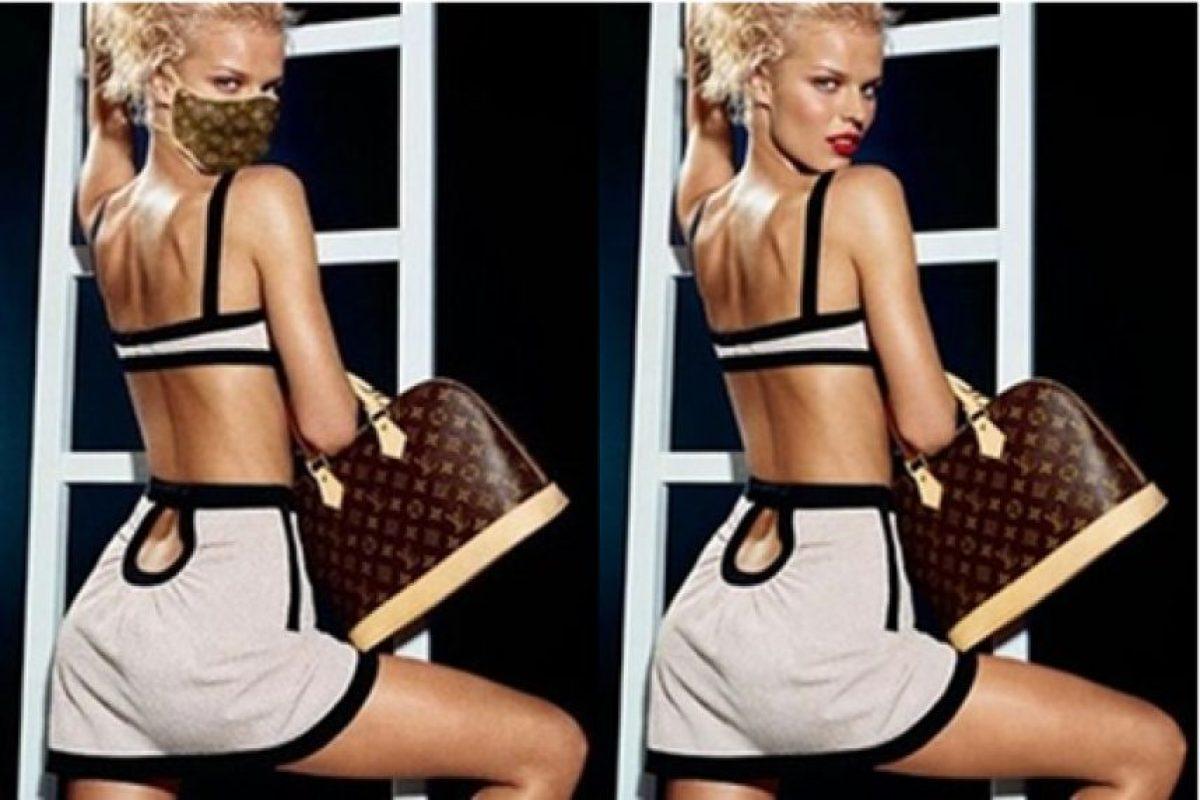 En 2003 apareció la imagen de la izquierda con Eva Herzigova publicitando un modelo de máscara para SARS de Louis Vuitton. Obviamente fue un montaje de la imagen derecha. Foto:Blog Ceslava.com. Imagen Por: