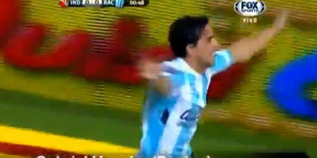 ¡Golazo!: Jugador de Racing recibe pase del portero y define de chilena