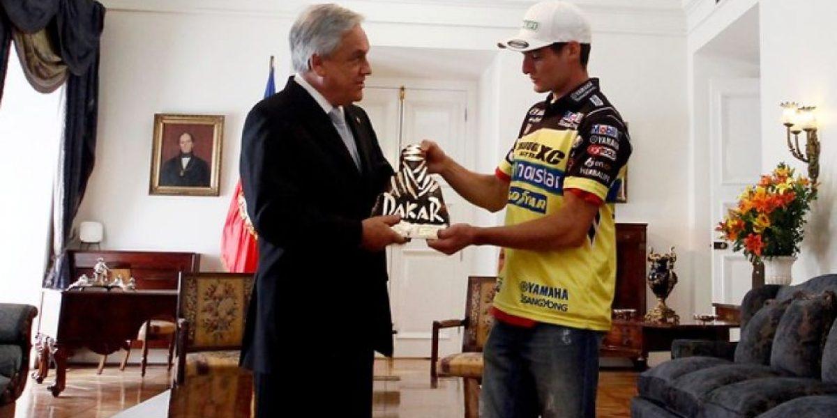 En La Moneda: Piñera recibe a Ignacio Casale, ganador del Rally Dakar