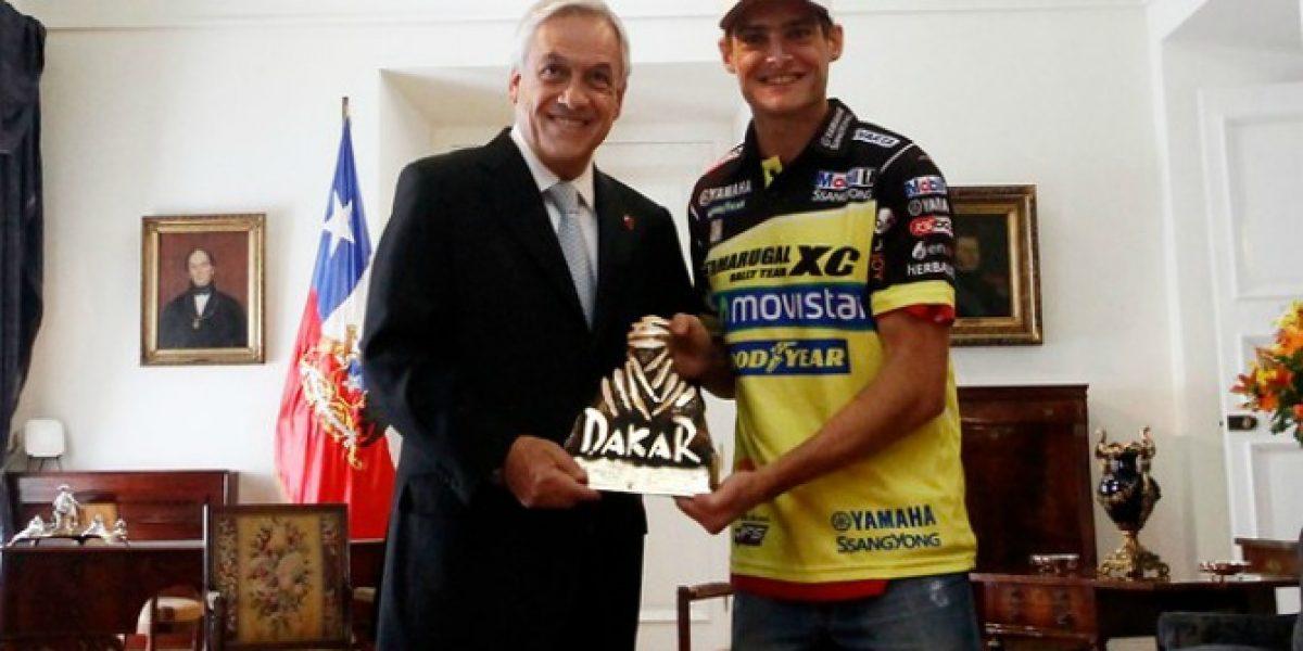 Ignacio Casale fue recibido en La Moneda tras ganar el Dakar 2014
