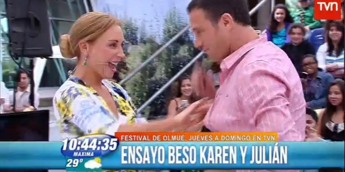 Karen y Julián adelantan beso en Festival del Huaso de Olmué imitando a Viñuela y Conserva