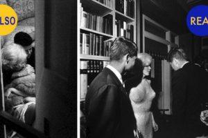 Se dice que JFK mantuvo un romance con Marilyn Monroe y en la foto de la izquierda aparecen ambos abrazados. No son ellos, son dos dobles fotografiados por la artista Allison Jackson, quien acostumbra usar dobles para recrear fotos Foto:Twitter @HistoryPixs. Imagen Por: