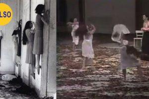 La imagen de la izquierda muestra supuestas pacientes de una institución psiquiátrica rusa en 1952. Las mujeres parecen estar flotando como si estuvieran poseídas. En realidad es un montaje con bailarinas de una representación, de 1977, llamada Blaubart Foto:Twitter @DisturbingPix. Imagen Por: