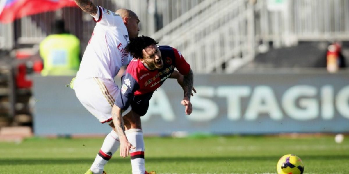 Mauricio Pinilla fue titular en agónica derrota del Cagliari ante AC Milan