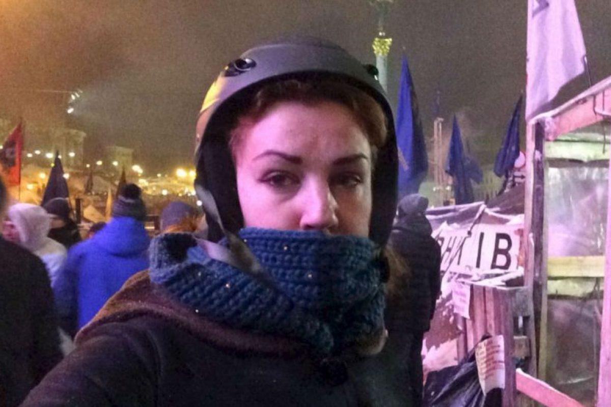 Lesya Orobets participa activamente en las protestas realizadas en la capital Kiev. Foto:Facebook. Imagen Por: