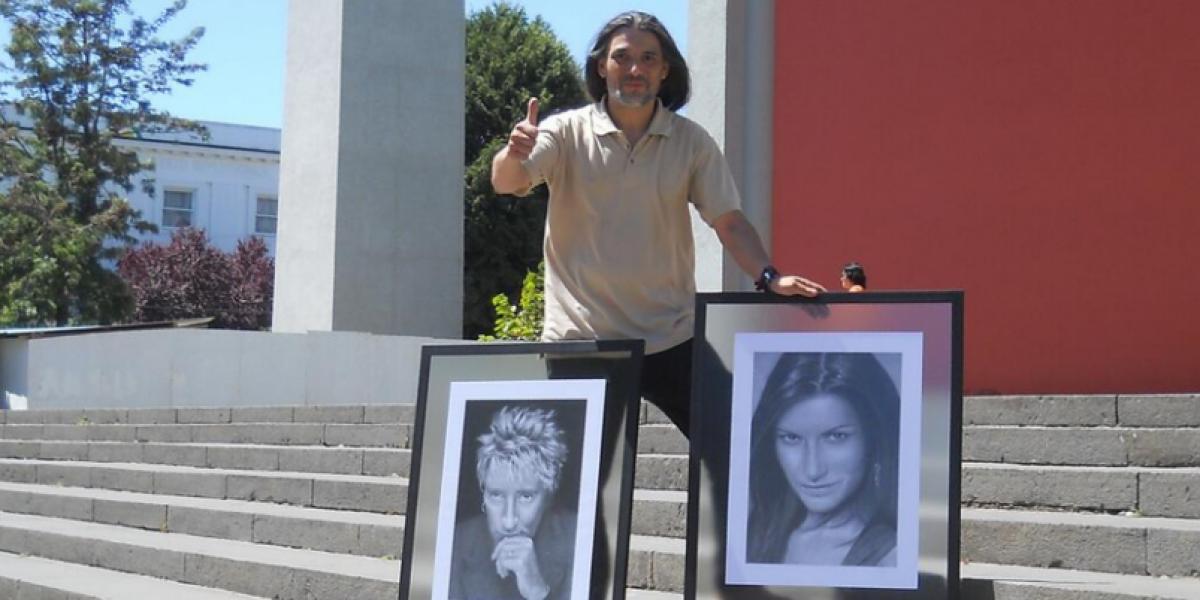Dibujante de Chillán ahora entrega retrato a Rod Stewart