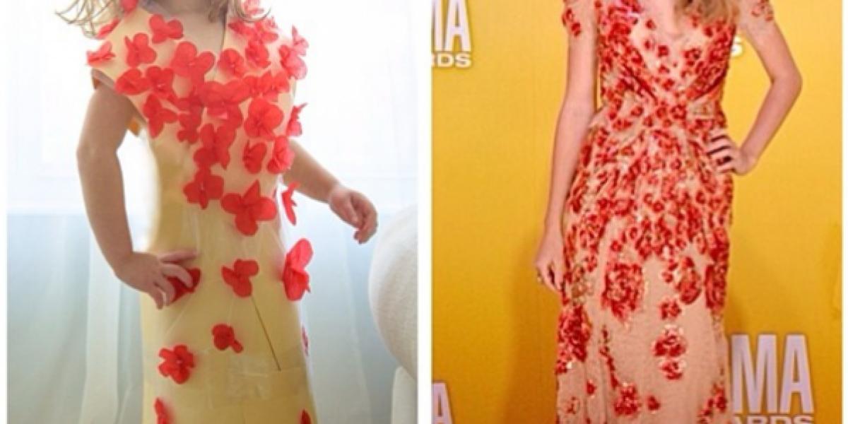 Vestidos de celebridades son replicados por una niña de 4 años