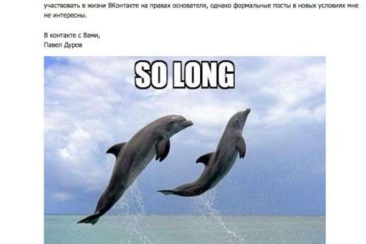 El post de despedida de Pavel Durov Foto:Captura de pantalla. Imagen Por: