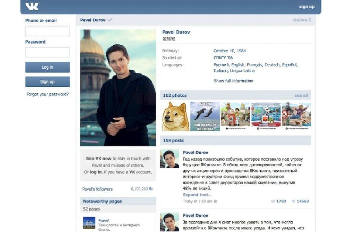 El perfil de Pavel Durov en VK Foto:Captura de pantalla. Imagen Por: