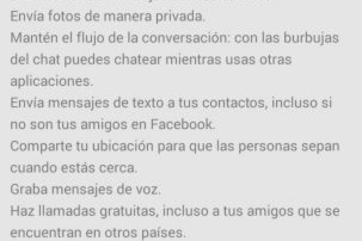 La reciente actualización de Facebook Messenger permite llamadas sin costo. Foto:Facebook. Imagen Por: