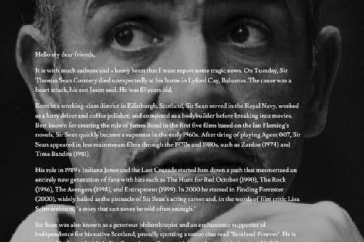 """Otra mala broma fue la muerte de Sean Connery, que comenzó en un sitio de Internet que transformó a su página principal en un obituario para el """"fallecido"""" actor. Foto:YTMND / Via Knowyourmeme. Imagen Por:"""