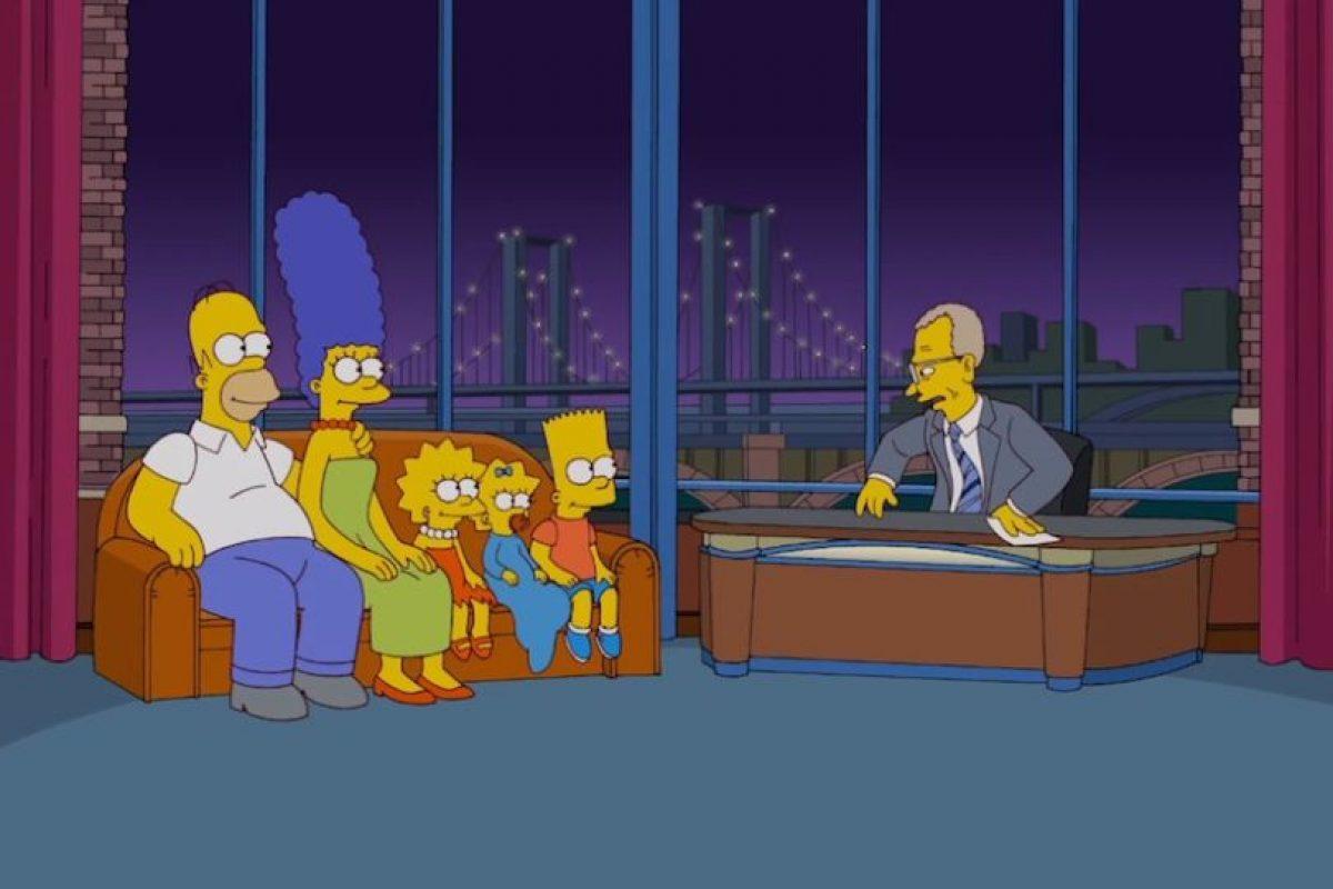 """""""Los Simpsons"""" y David Letterman. Foto:Fox. Imagen Por:"""
