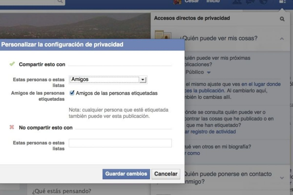 """El cuadro de diálogo si seleccionan """"Personalizado"""". Foto:Facebook. Imagen Por:"""