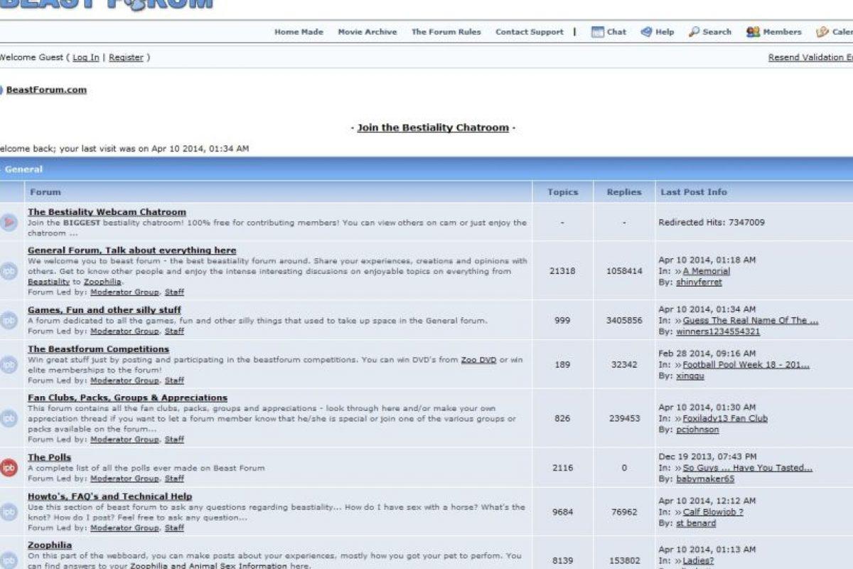 Beast Forum. El sitio visible de los zoofílicos. Foto: Captura de Pantalla. Imagen Por: