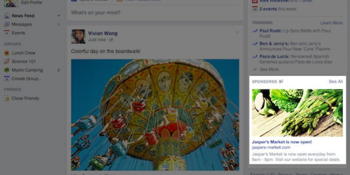Facebook invadirá su pantalla: Colocará anuncios más grandes