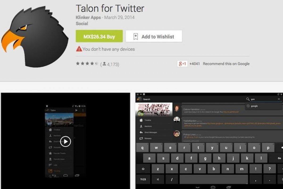 Sirve para manejar Twitter de forma sencilla. Recomendada para los tuiteros de batalla. Foto:Google Play image. Imagen Por: