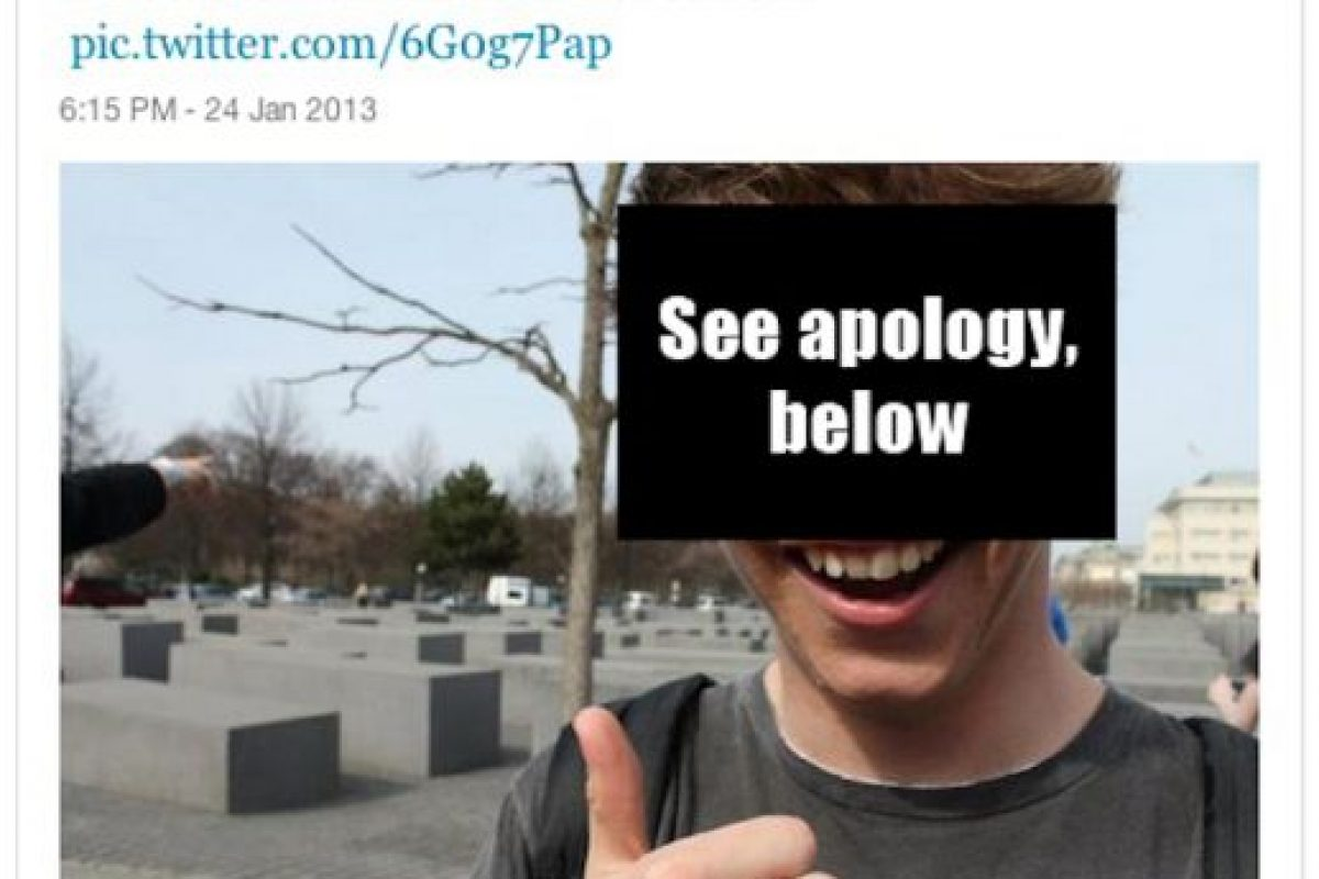 En el monumento a las víctimas del Holocausto Foto:Selfiesatseriousplaces.tumblr.com. Imagen Por: