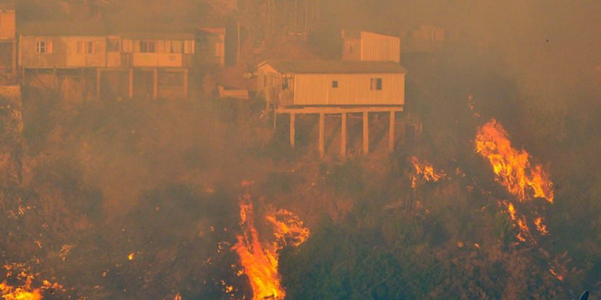 Fotos: Dos focos de incendio forestal combaten bomberos en Valparaíso
