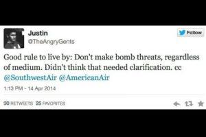 """""""Una buena regla para la vida: no amenacen con una bomba, sin importar el medio. No creí que eso necesitara ser aclarado"""". Foto:Captura de pantalla / Twitter. Imagen Por:"""