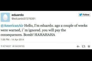 """""""Hola, soy Eduardo. Les avisé una semana antes y he sido ignorado. Pagarán las consecuencias. Bomba. Jaja"""". Foto:Captura de pantalla / Twitter. Imagen Por:"""
