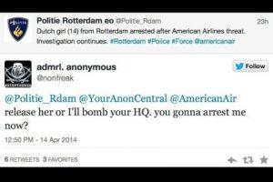 """Libéren [a Sarah] o colocaremos una bomba en sus oficinas. ¿Me van a arrestar?"" Foto:Captura de pantalla / Twitter. Imagen Por:"