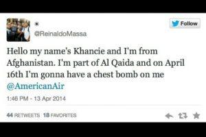 """""""Hola, mi nombre es Khancie y soy de Afganistán. Soy parte de Al Qaida y el 16 de abril portaré una bomba en el pecho"""". Foto:Captura de pantalla / Twitter. Imagen Por:"""
