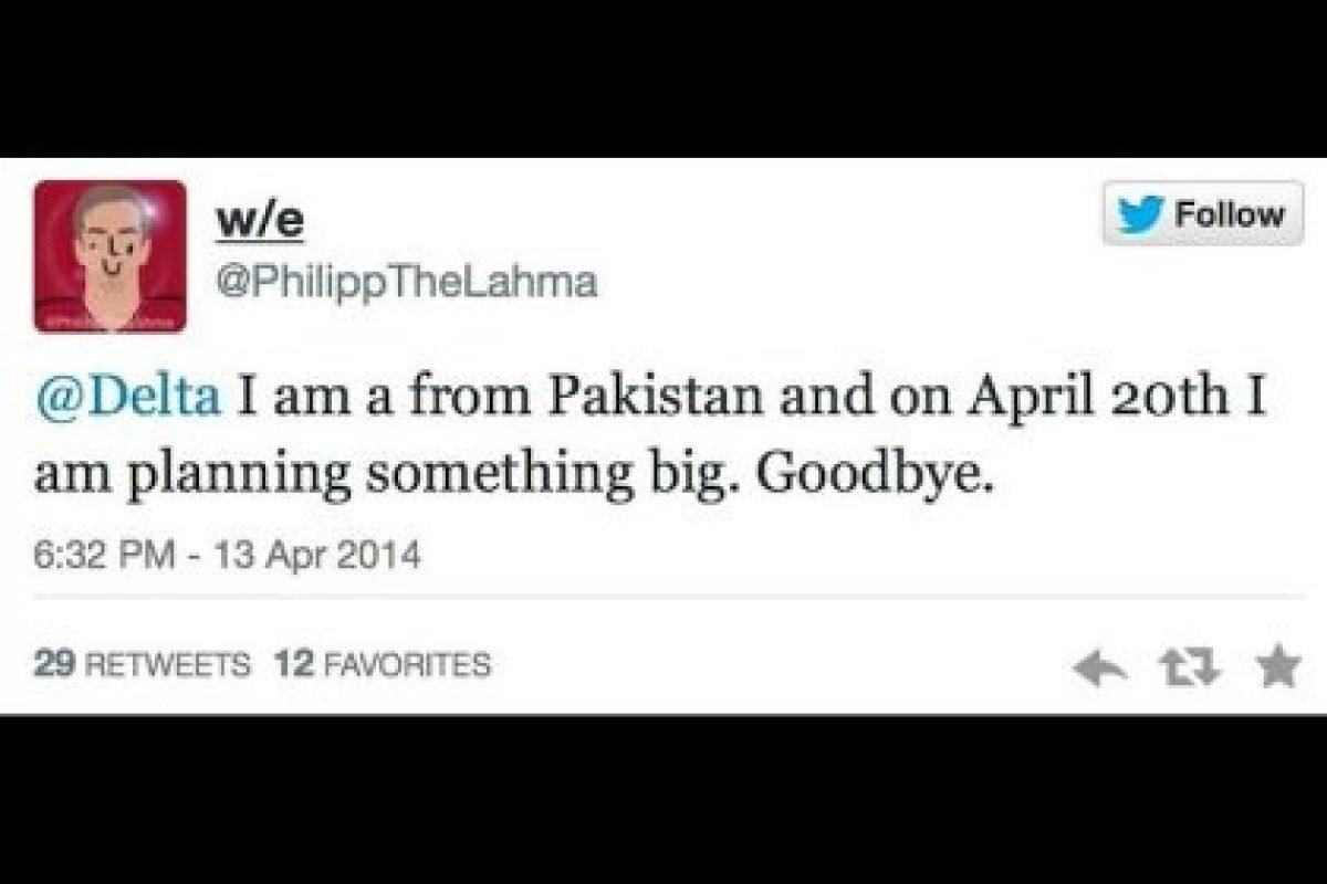 """""""Soy de Pakistán y estoy planeando algo grande para el 20 de abril. Adiós"""". Foto:Captura de pantalla / Twitter. Imagen Por:"""
