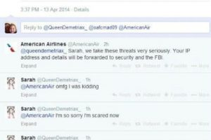 El intercambio de Sarah y la aerolínea. Foto:Captura de pantalla / Twitter. Imagen Por: