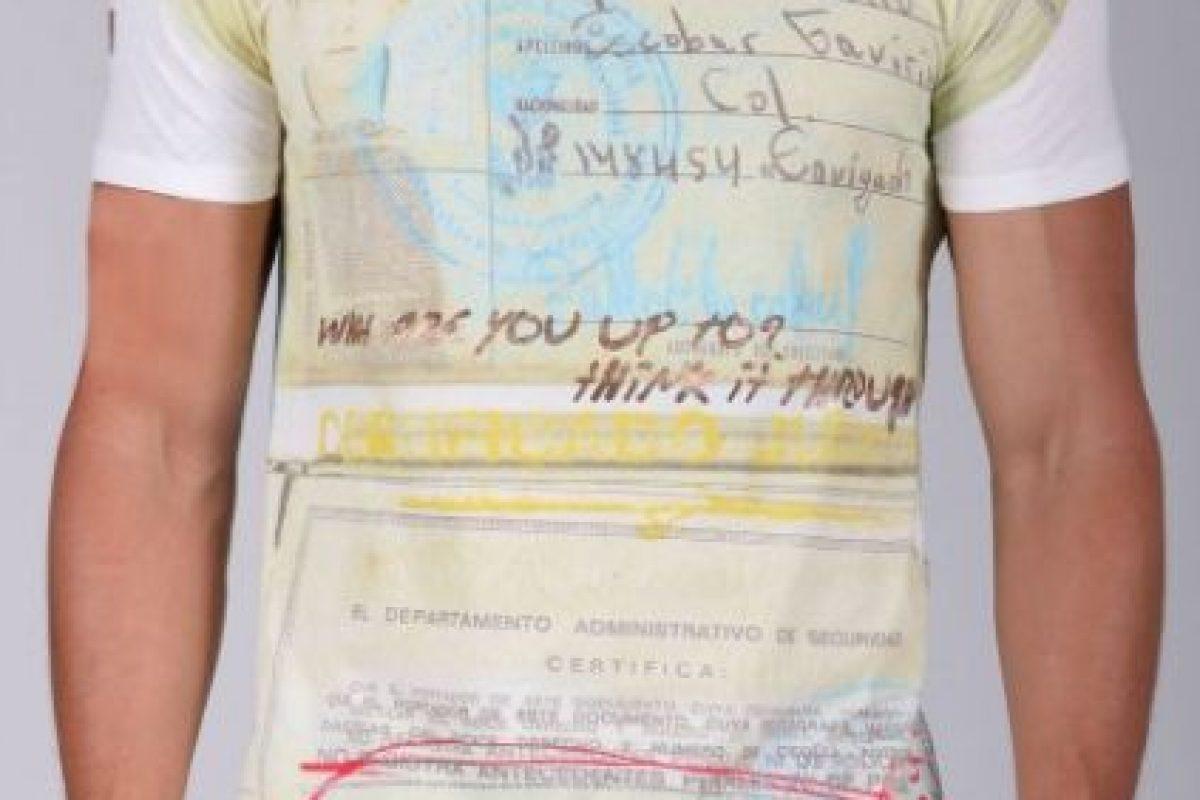 Esta es otra de las camisetas de Escobar. Foto: Escobar Henao. Imagen Por: