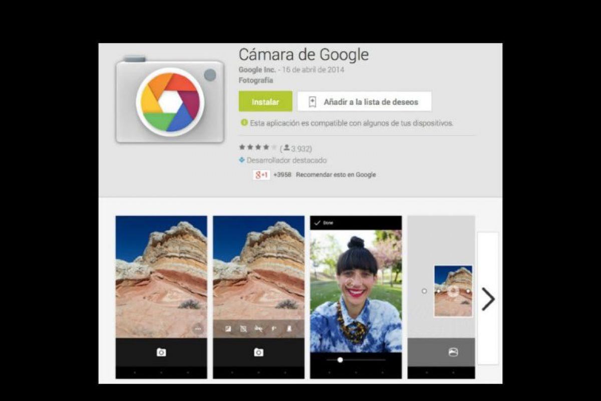 La Cámara de Google es gratuita. Foto:Google Inc.. Imagen Por: