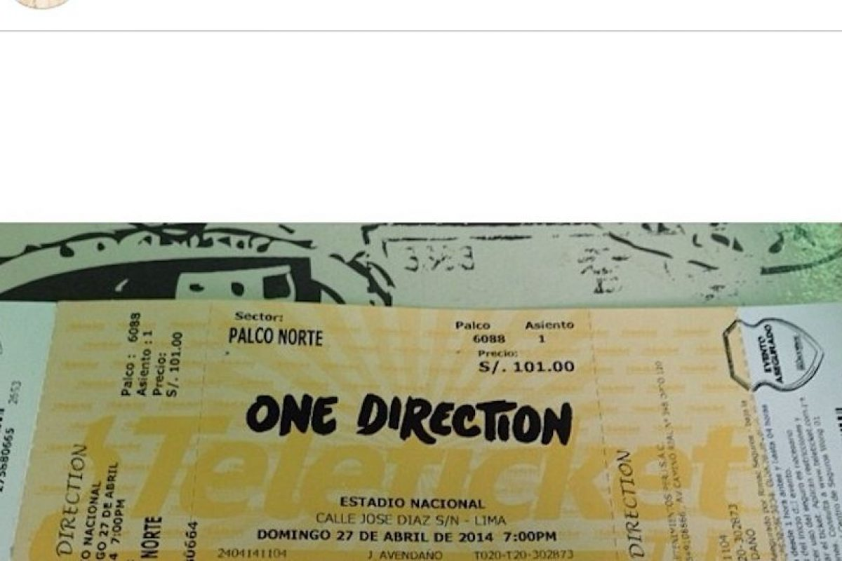 Una Directioner compartió su boleto en las redes sociales Foto:Instagram. Imagen Por:
