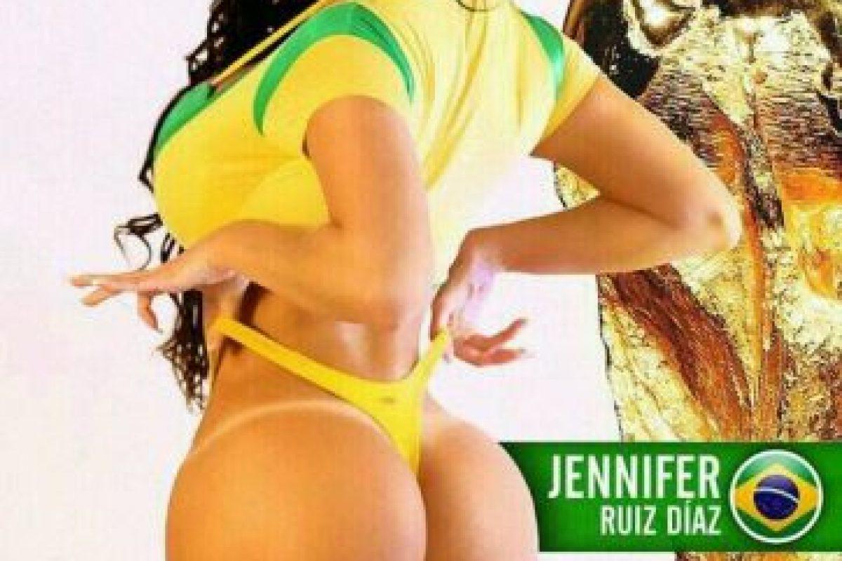 La modelo de Praguay apoya en el Mundial al anfirión Brasil Foto:Facebook. Imagen Por: