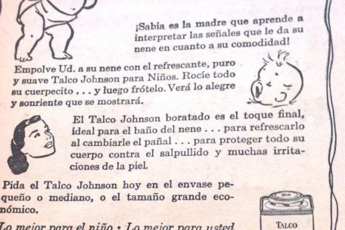 Los talcos Johnson se preocupaban por el bienestar del bebé y de paso enseñaban a las madres cómo actuar.. Imagen Por: