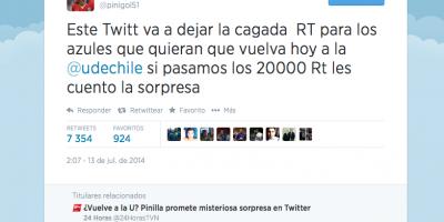 ¿Eres tú Mauricio? Los extraños mensajes de Pinilla en su Twitter