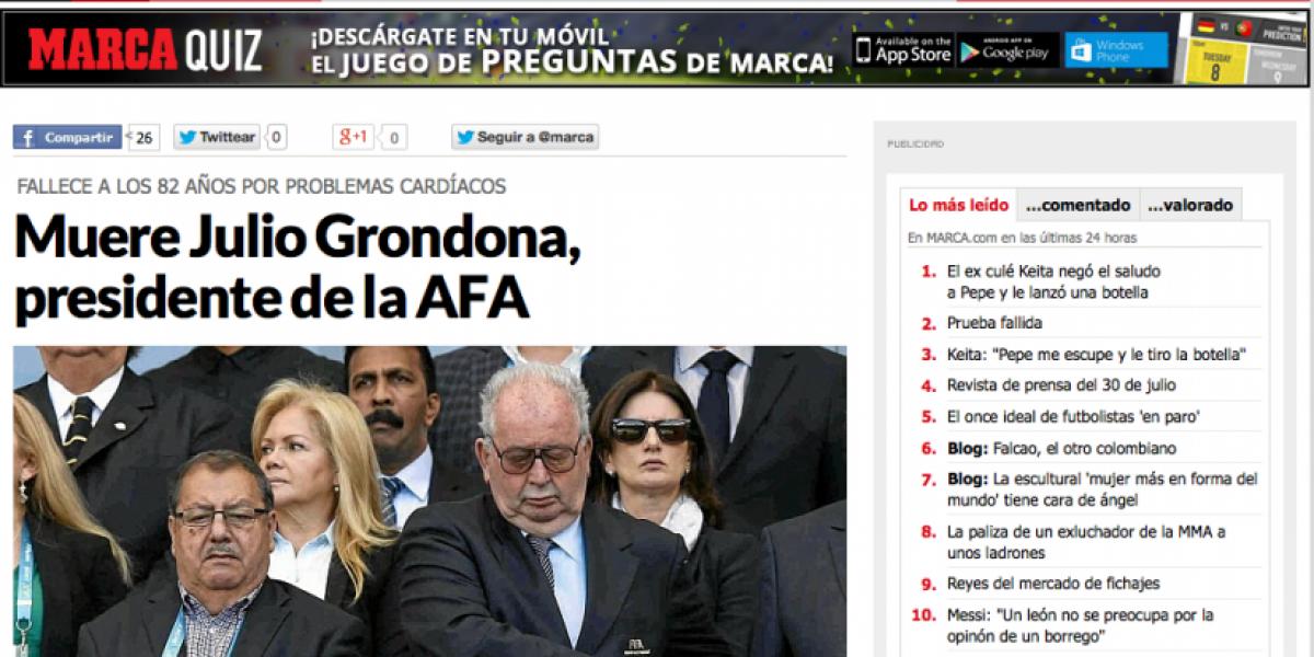Noticia mundial: la reacción de los medios internacionales por la muerte de Grondona