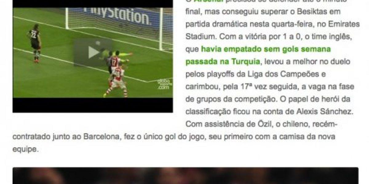 No sólo en Inglaterra: El gol de Alexis fue destacado en todo el mundo